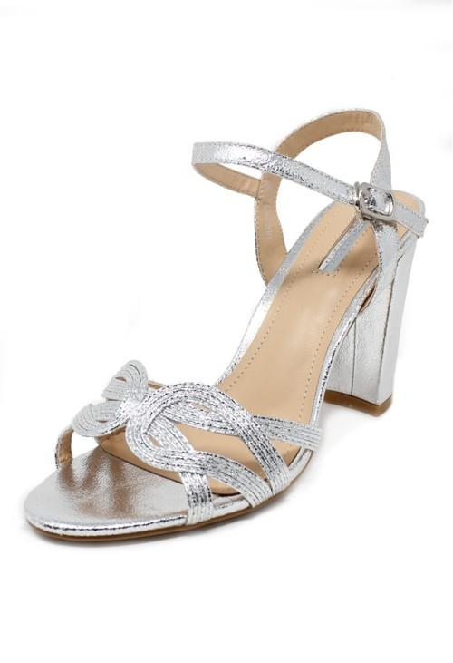 Pamela Scott silver block heel sandal