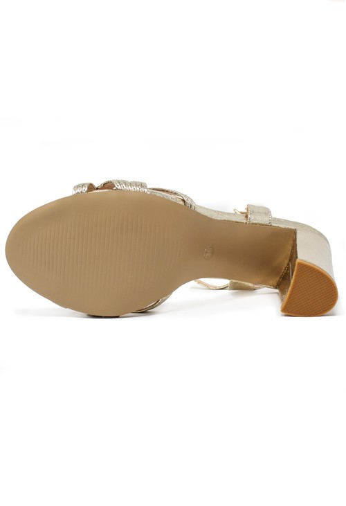 Shoe Lounge gold block heel sandal