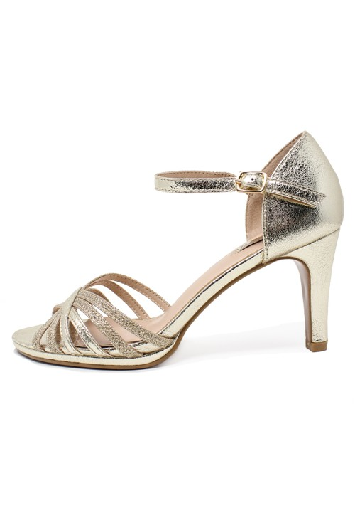 Pamela Scott gold glitzy open toe front sandal