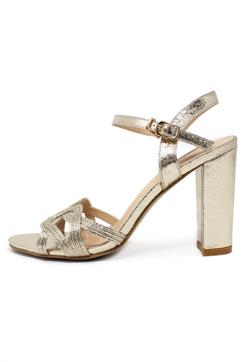 Pamela Scott gold block heel sandal