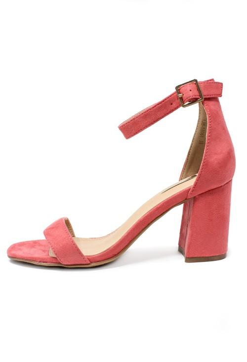 Pamela Scott Coral suedette block heel sandal