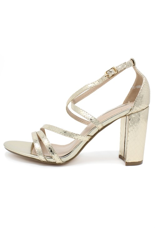 Pamela Scott gold asymmetric strap sandal with block heel