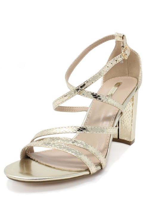 Pamela Scott gold asymmetric strap sandal with block heel