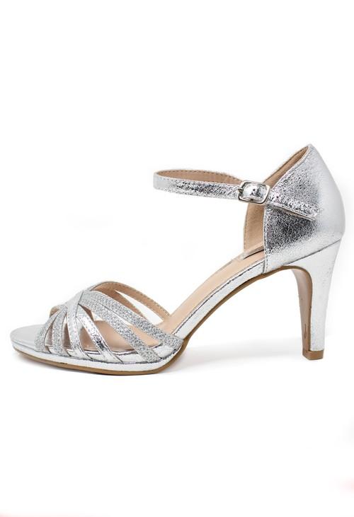 Shoe Lounge Silver glitzy open toe front sandal