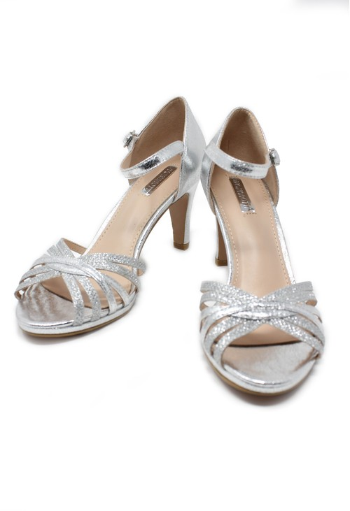 Pamela Scott Silver glitzy open toe front sandal