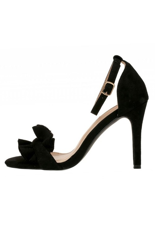 Pamela Scott Black Frill Detail Heel