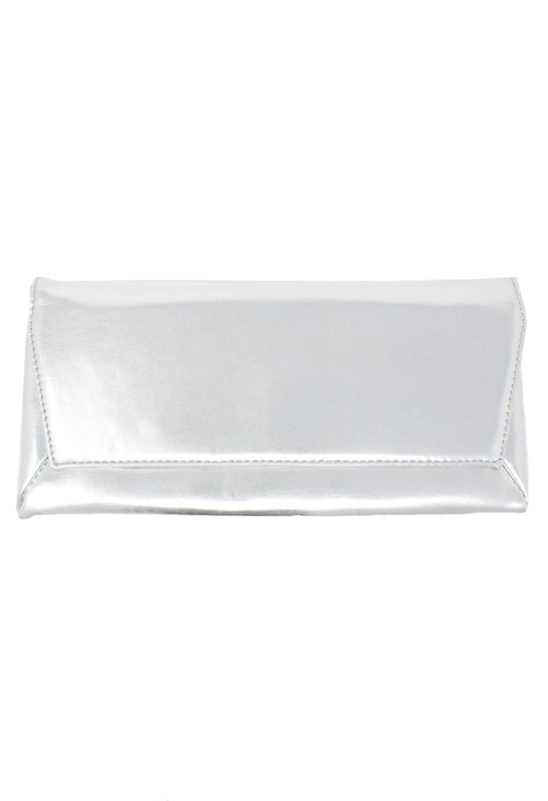 Pamela Scott silver envelope clutch bag