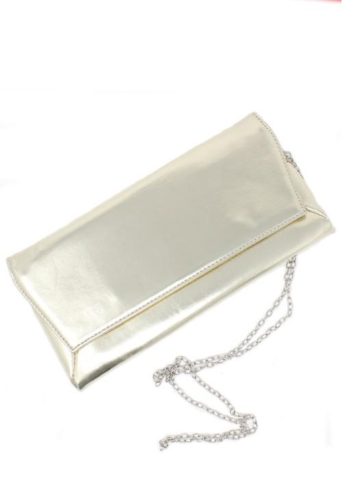 Pamela Scott champagne envelope clutch bag