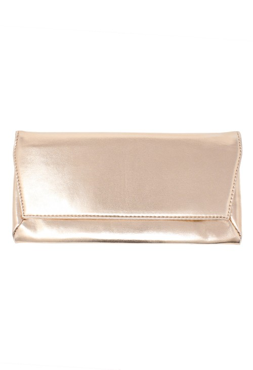 Pamela Scott rose gold envelope clutch bag