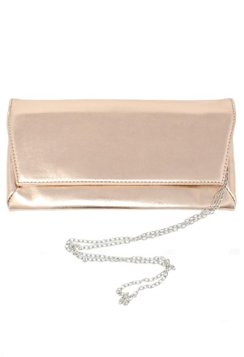 Pamela Scott rose gold envelope clutch bag