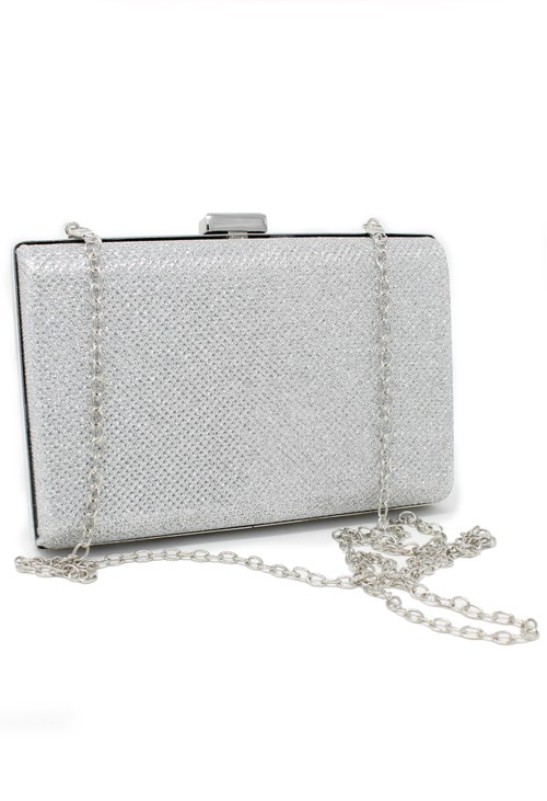 Pamela Scott silver diamante clutch bag