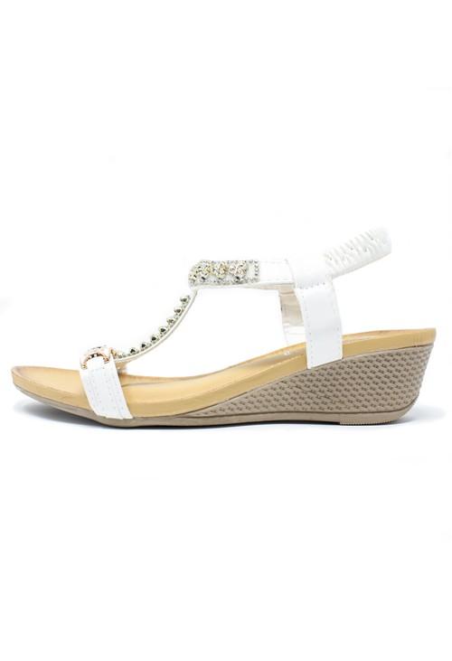 Pamela Scott White Jewel Detail Sandal