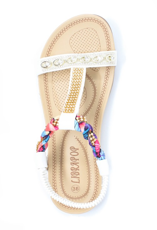 Shoe Lounge White print and jewel detail sandal