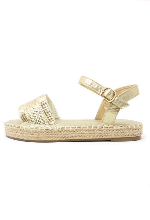 Pamela Scott Gold Metallic Strap Sandals
