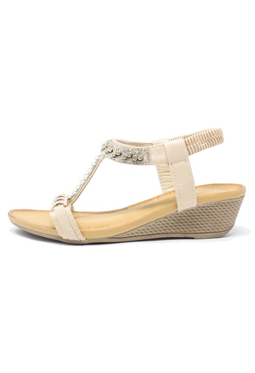 Pamela Scott Blush Jewel Detail Wedge Sandals