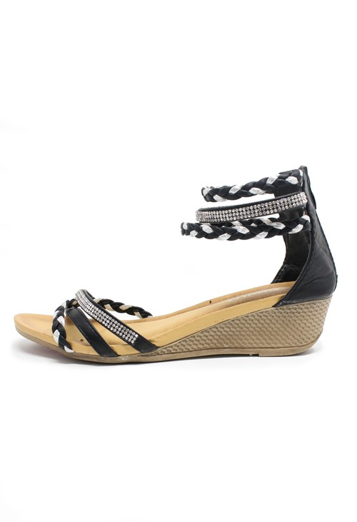 Pamela Scott Black & Silver Diamante Detail Wedge Sandal