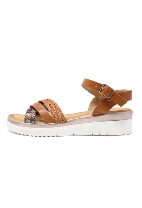 Pamela Scott Tan Strappy Chunky Sandals