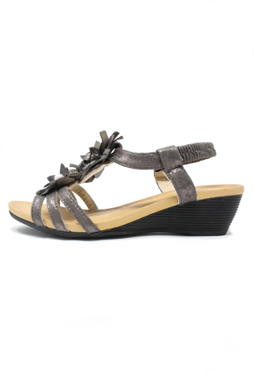 Pamela Scott Bronze Floral and Diamonte Detail Wedge Sandals