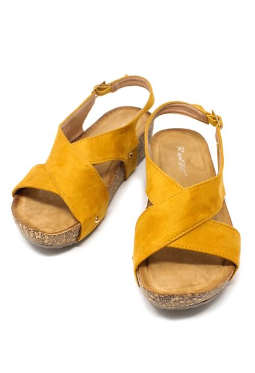 Pamela Scott Mustard Cork Sole Sandals