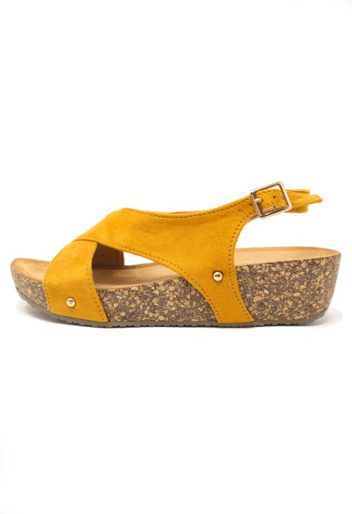Pamela Scott Mustard Cork Sole Sandals