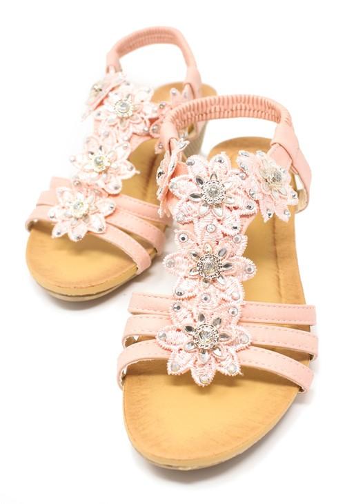 Pamela Scott Pink Floral Design Sandals