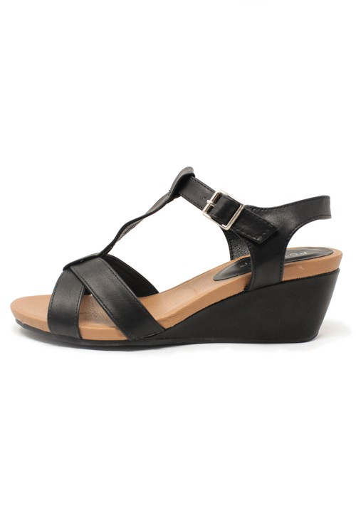 Pamela Scott BLACK ANKLE STRAP WEDGE SANDALS
