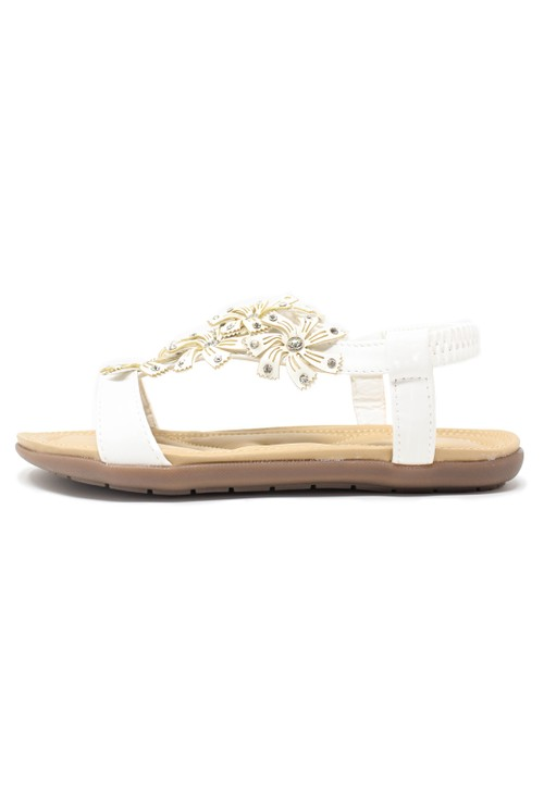Pamela Scott White Floral Diamante Stud Detail Flat Sandals