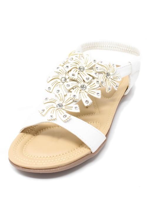 Pamela Scott White Floral Diamante Stud Detail Flat Sandals