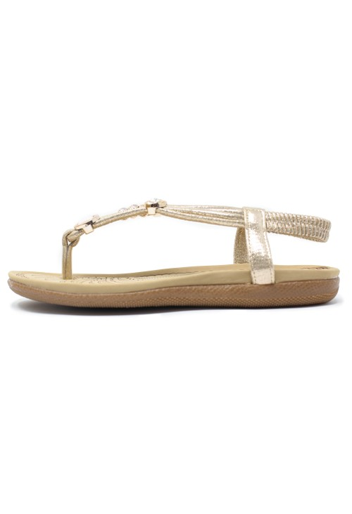 Pamela Scott Gold Toe Post Sandals