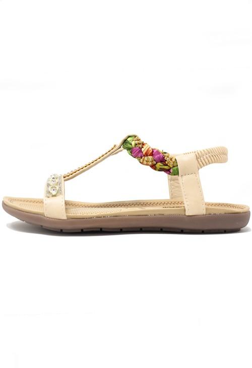 Pamela Scott Beige print and jewel detail sandal