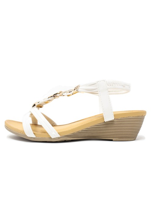Pamela Scott White Jewel Detail Wedge Sandals