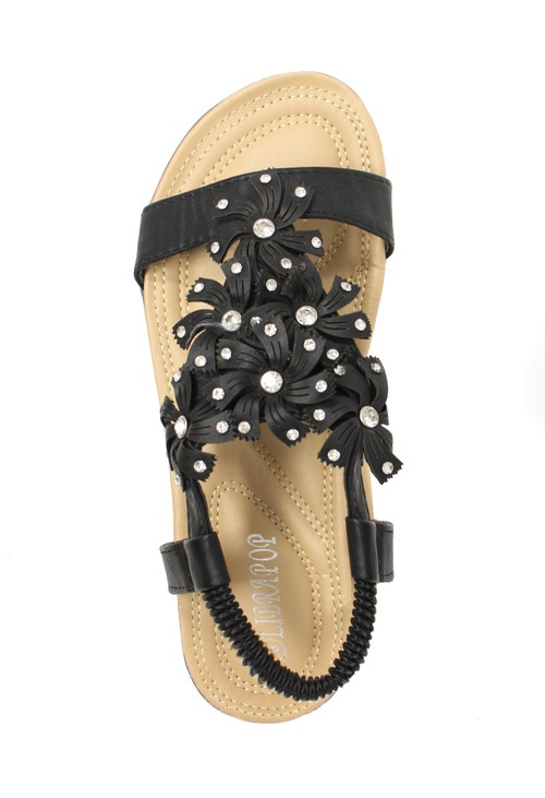 Pamela Scott Black Floral Detail Sandals