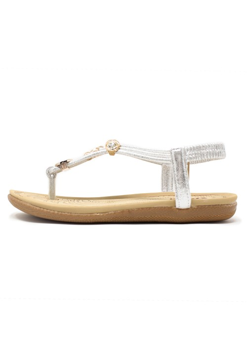 Pamela Scott Silver Toe Post Sandals