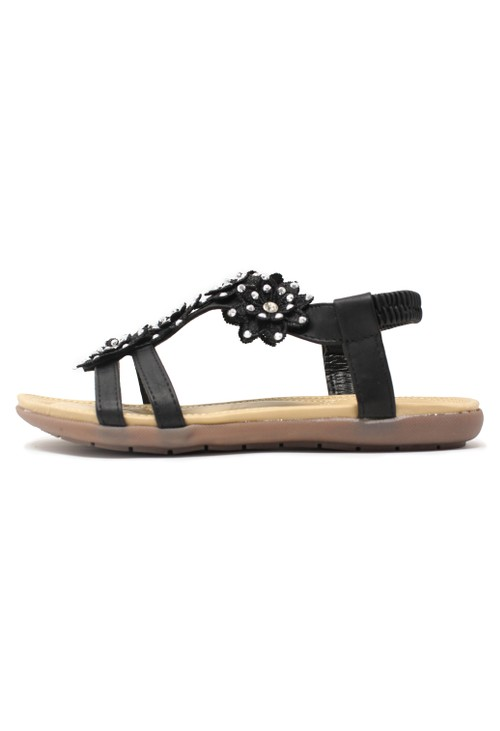 Pamela Scott Black Flower Detail Sandal
