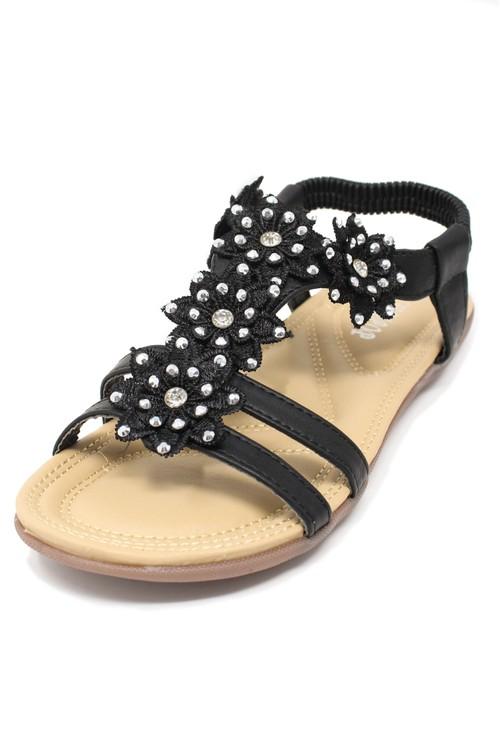 Pamela Scott Black Flower Detail Sandal