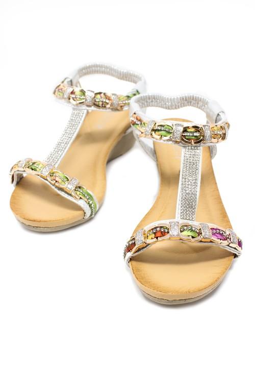 Pamela Scott Print and Diamonte Detail Wedge Sandals