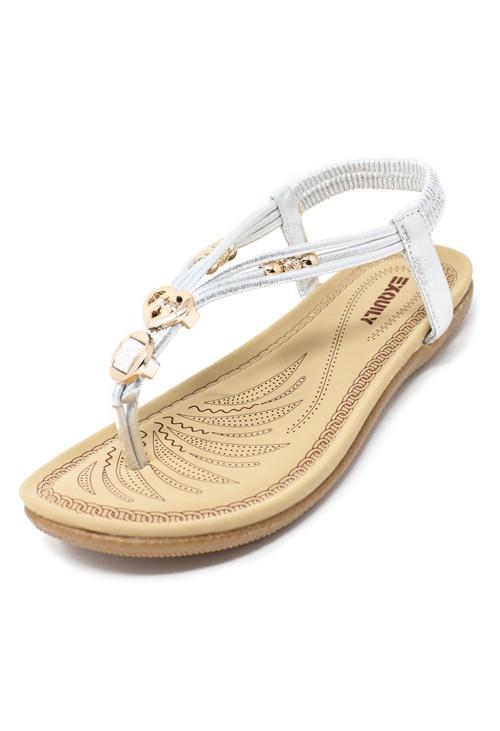 Shoe Lounge Silver Toe Post Sandals