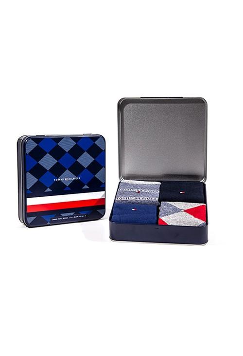 Tommy Hilfiger Socks Grey & Red Sock Tin Gift Box Set