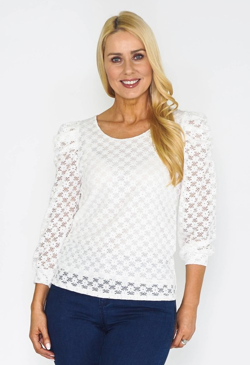 Zapara Puff sleeve lace top