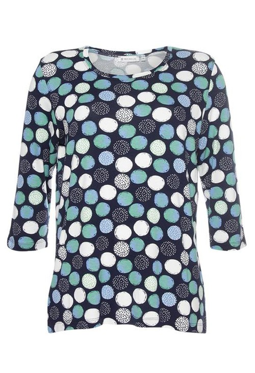 Bicalla Circle Print 3/4 Sleeve Top