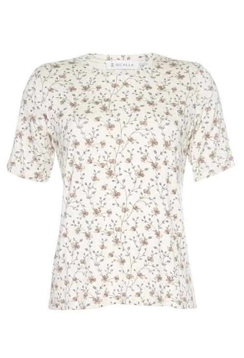 Bicalla Beige Floral Print T-Shirt