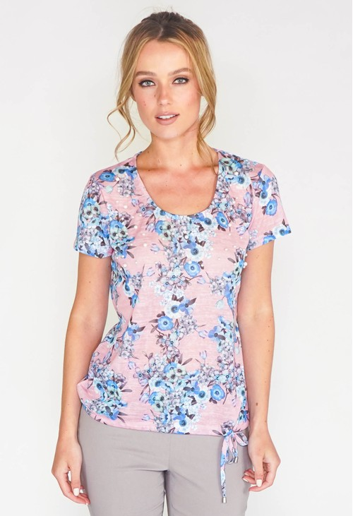 Twist SCOOP NECKLINE TOP WITH FLORAL & PEARL DETAIL