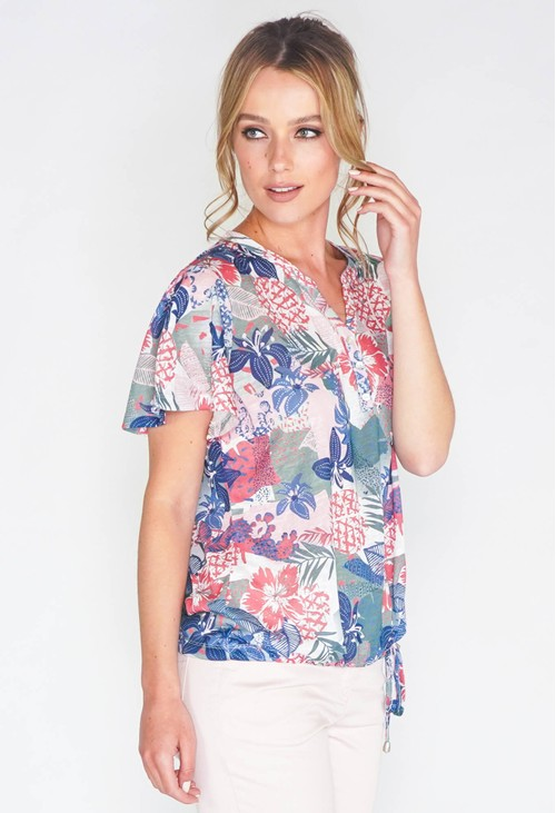 Sophie B ABSTRACT PINEAPPLE PRINT DESIGN ON CLASSIC HENLEY TOP