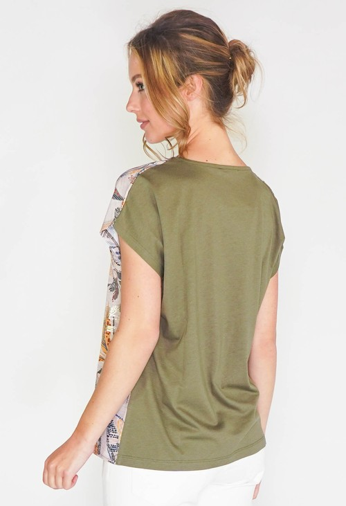 Sophie B LEAF PRINT SAFARI STYLE TOP WITH JERSEY BACK