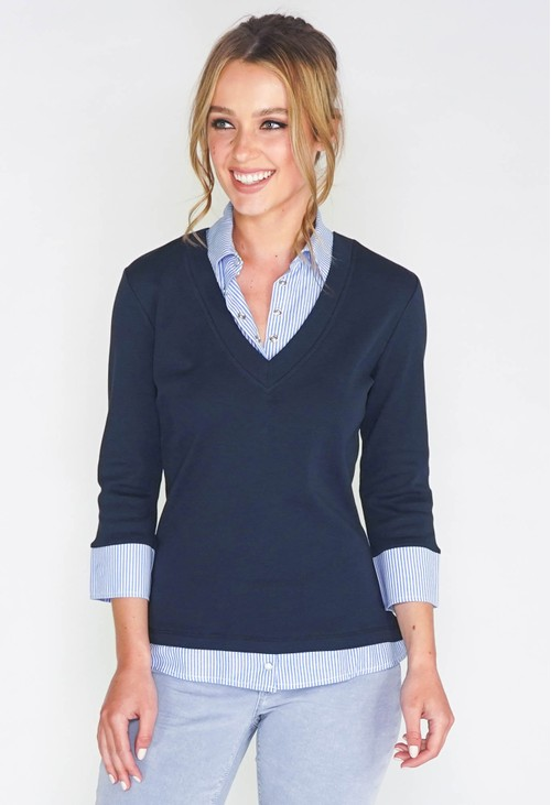 Twist 2-IN-1 COTTON TOP WITH BLUE OXFORD STRIPE