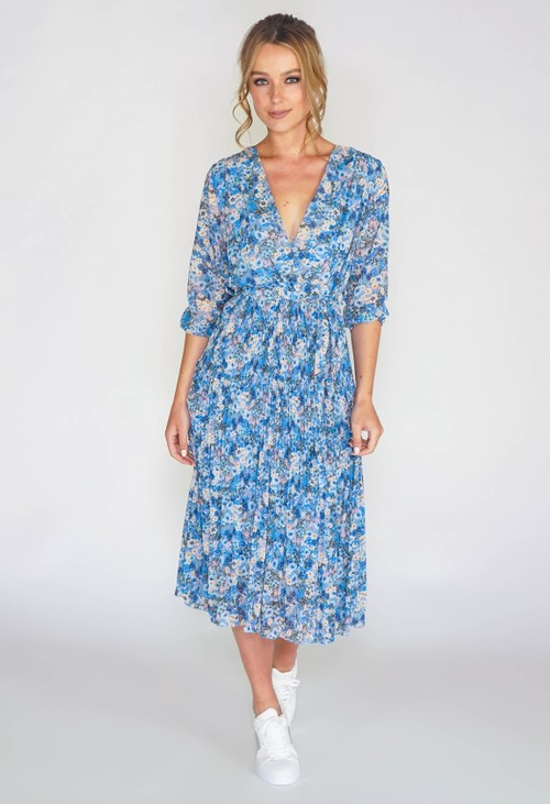 Pamela Scott FLORAL PLEATED DRESS