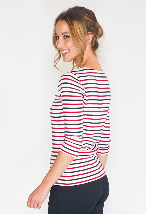 Twist STRIPE TOP WITH BRODERIE ANGLAISE PANEL