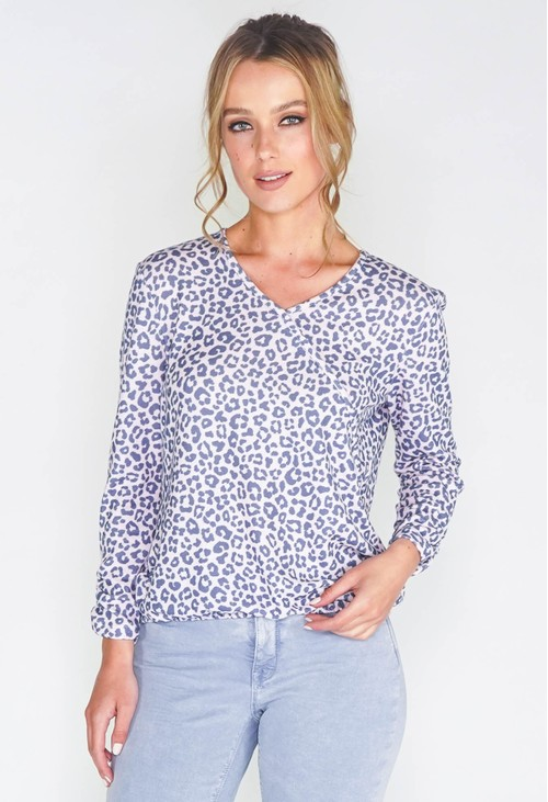 Twist SOFT PINK LEOPARD PRINT FAUX CROSSOVER TOP