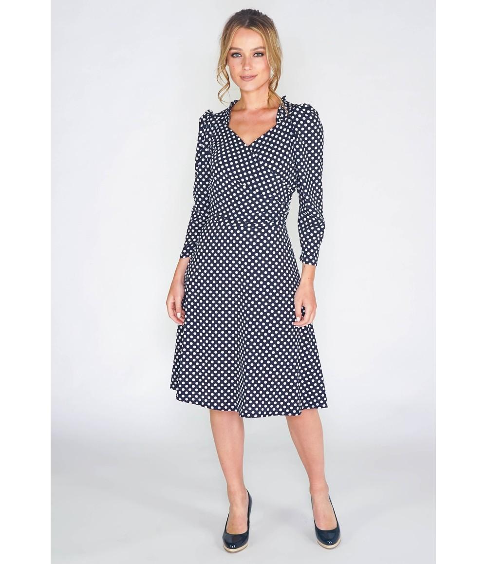 Zapara navy dress in polka dot print