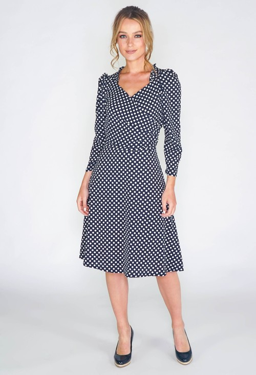 Zapara navy dress in polka dot print